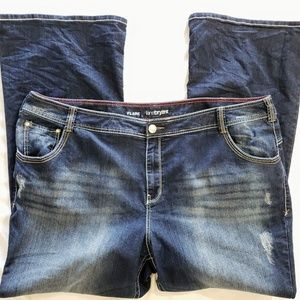 Lane  Bryant flare distressed jeans size 26